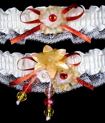 Multi-color Wedding Bridal Prom Garter SET in Orange Yellow Ivory on Ivory Lace