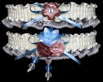 Multi-color Wedding Bridal Prom Garter SET in Blue Peach Brown on Ivory Lace