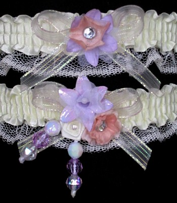 Multi-color Wedding Bridal Prom Garter SET in Orchid Peach Ivory on Ivory Lace