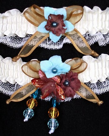 Multi-color Wedding Bridal Prom Garter SET in Brown Aqua Old Gold on Ivory Lace