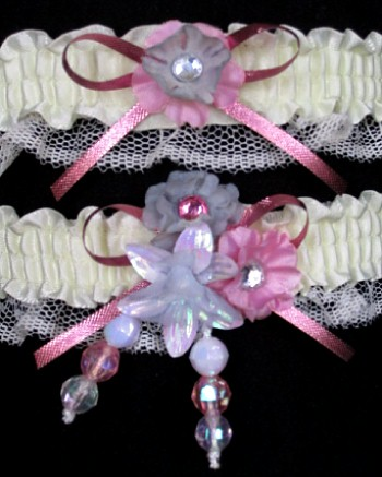 Multi-color Wedding Bridal Prom Garter SET in Pink Gray Ivory on Ivory Lace