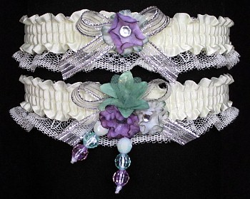 Multi-color Wedding Bridal Prom Garter SET in Green-Orchid-Silver on Ivory Lace
