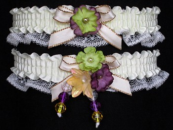Multi-color Wedding Bridal Prom Garter SET in Purple Green Yellow on Ivory Lace
