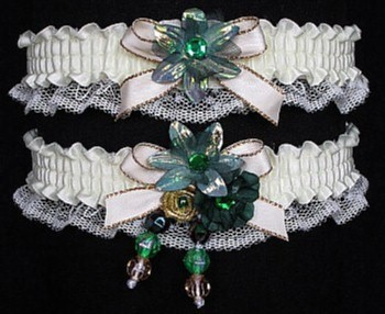 Multi-color Wedding Bridal Prom Garter SET in Green Gold Ivory on Ivory Lace