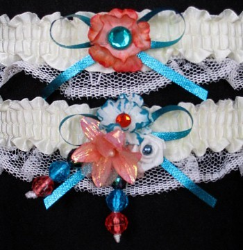 Multi-color Wedding Bridal Prom Garter SET in Turquoise Orange Ivory on Ivory Lace