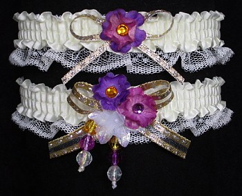Multi-color Wedding Bridal Prom Garter SET in Rose Purple Gold on Ivory Lace