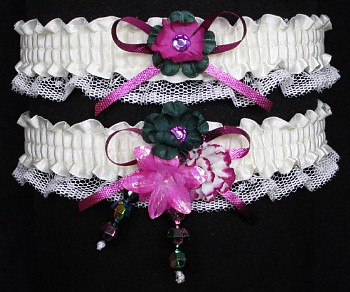 Multi-color Wedding Bridal Prom Garter SET in Fuchsia Green Ivory on Ivory Lace