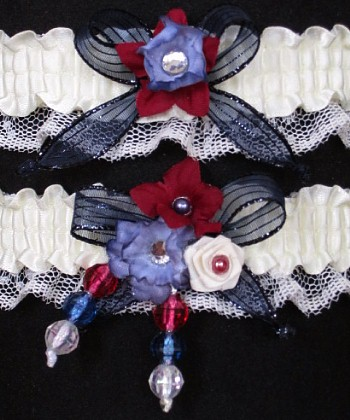 Multi-color Wedding Bridal Prom Garter SET in Navy Burgundy Wine Ivory on Ivory Lace
