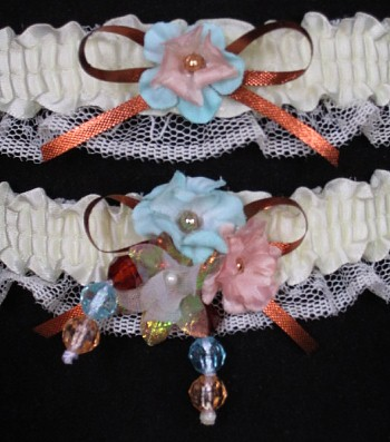 Multi-color Wedding Bridal Prom Garter SET in Aqua Peach Copper on Ivory Lace