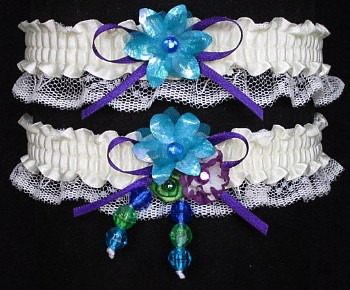 Multi-color Wedding Bridal Prom Garter SET in Peacock Purple Green on Ivory Lace