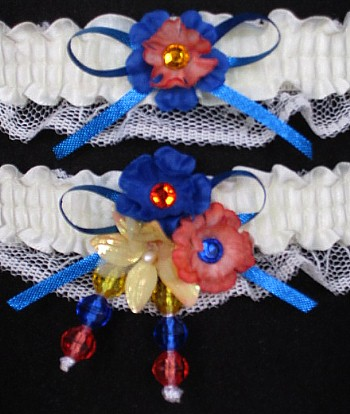 Multi-color Wedding Bridal Prom Garter SET in Blue Orange Yellow on Ivory Lace