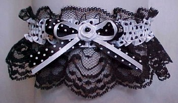 Fancy Bands™ Black and White Polka Dot Garter