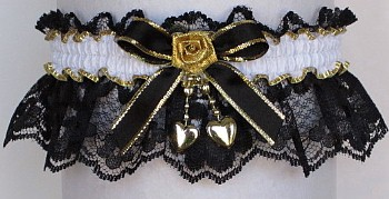 Fancy Bands™ Black and White Garter with 2 Gold Hearts. Prom Garter - Wedding Garter - Bridal Garter