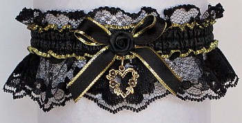 Fancy Bands™ Black & Gold Garters with Gold Open Heart Charm. Prom Garter - Wedding Garter - Bridal Garter