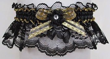 Black Gold Garter with Rhinestone