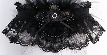Black Prom Garter Lace Garters Deluxe Pearls With Marabou Feathers