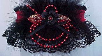 Black Lace Garter w/ Colored Satin Band, Pearls & Marabou Feathers. Prom Garter - Wedding Garter - Bridal Garter