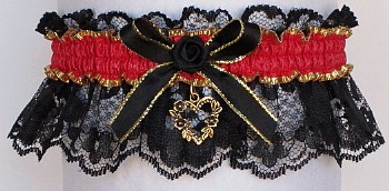 Fancy Bands™ Hot Red Garter on Black Lace with Gold Open Heart Charm. Prom Wedding Bridal Valentine