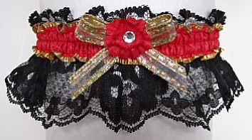 Hot Red Gold Black Garter with Rhinestone