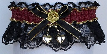 Fancy Bands™ Burgundy Wine Garter on Black Lace with 2 Gold Hearts. Prom Wedding Bridal Valentine