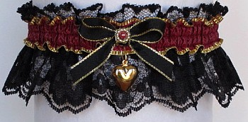 Fancy Bands™ Burgundy Wine Garter on Black Lace with Gold Puffed Heart. Prom Wedding Bridal Valentine