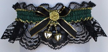Fancy Bands™ Forest Green Garter on Black Lace with 2 Gold Hearts. Prom Wedding Bridal