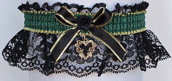 Fancy Bands™ Forest Green Garter on Black Lace with Gold Open Heart Charm. Prom Wedding Bridal