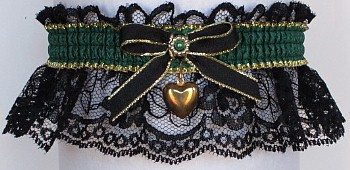 Fancy Bands™ Forest Green Garter on Black Lace with Gold Puffed Heart Charm. Prom Wedding Bridal