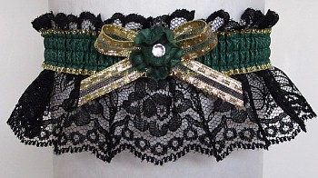 Green Gold Black Garter With Rhinestone
