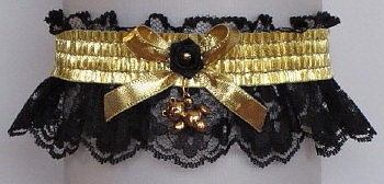 Fancy Bands™ Black & Gold Garter w/ Teddy Bear Charm. Prom Garter - Wedding Garter - Bridal Garter
