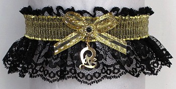 Fancy Bands™ Black & Gold Garter with Love Charm. Prom Garter - Wedding Garter - Bridal Garter