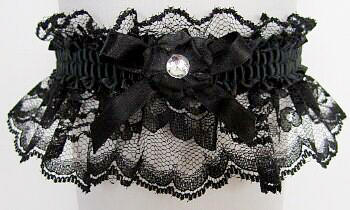Black Lace Garter With A Crystal Rhinestone Wedding Bridal Prom