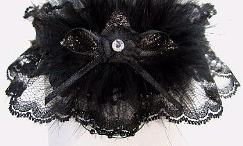Black Lace Garter With A Crystal Rhinestone Marabou Feathers Wedding Bridal Prom
