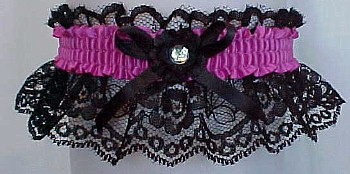 Crystal Rhinestone Garter w/ Colored Band on Black Lace. Prom Garter - Wedding Garter - Bridal Garter