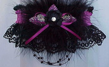 Crystal Rhinestone Garter w/ Colored Band & Trim with Marabou Feathers on Black Lace. Prom Garter - Wedding Garter - Bridal Garter