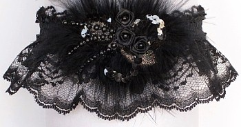 Black Prom Garter Lace Garters Deluxe Sequins N Roses With