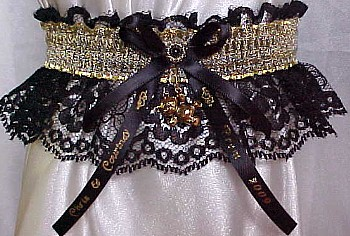 SHEER Gold Metallic Band on Black Lace. Totally Glam Metallic Prom Garters.
