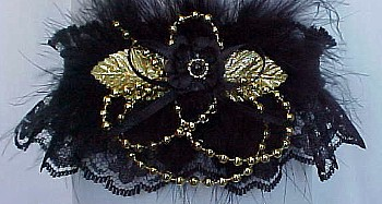 Black Lace Garters with Deluxe Gold Pearls and Marabou Feathers. Prom Garter - Wedding Garter - Bridal Garter