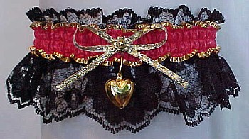 Fancy Bands™ Hot Red Garter on Black Lace with Gold Puffed Heart Charm for Prom Wedding Bridal Valentine
