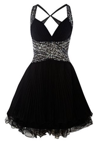 Short Black and Silver Prom Dress
