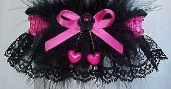 Shocking Pink Dbl Hearts Valentine Garter w/ Marabou Feathers on Black Lace.garder