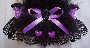 Grape Dbl Hearts Valentine Garter w/ Marabou Feathers on Black Lace.