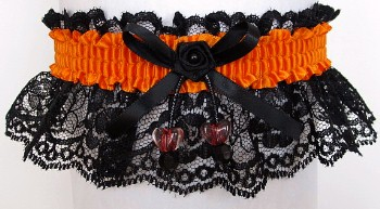 Neon Orange Garter with AB Double Hearts on Black Lace for Wedding Bridal Prom