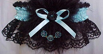 Colored Faceted Beads Garter with Colored Band & Trim with Feathers on Black Lace. Prom Garter - Wedding Garter - Bridal Garter