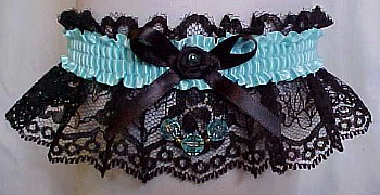 Colored Faceted Beads Garter with Colored Band & Trim on Black Lace. Prom Garter - Wedding Garter - Bridal Garter