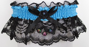 Neon Island Blue Garter with Aurora Borealis Faceted Beads on Black Lace for Wedding Bridal Prom