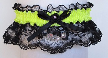 Neon Yellow Garter with Aurora Borealis Faceted Beads on Black Lace for Wedding Bridal Prom