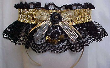 Fancy Bands™ Black Lace Garters with Shiny Gold Metallic Band and Faceted Beads. Prom Garter - Wedding Garter - Bridal Garter