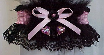 Rose Pink Valentine Garter w/ Aurora Borealis Hearts & Marabou Feathers on Black Lace.