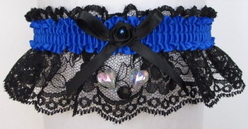 Neon Electric Blue Garter with Aurora Borealis Hearts on Black Lace for Wedding Bridal Prom